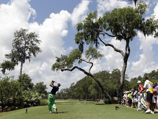 Jonathan Byrd hits from the sixth tee during the second round of the Players Championship golf tournament at TPC Sawgrass, Friday, May 11, 2012, in Ponte Vedra Beach, Fla. (AP Photo/Chris O'Meara)