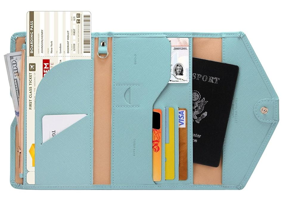 <p>A multipurpose <span>travel passport wallet</span> ($14) will keep your important travel papers safe - and you get to pick from an array of cute colors.</p>