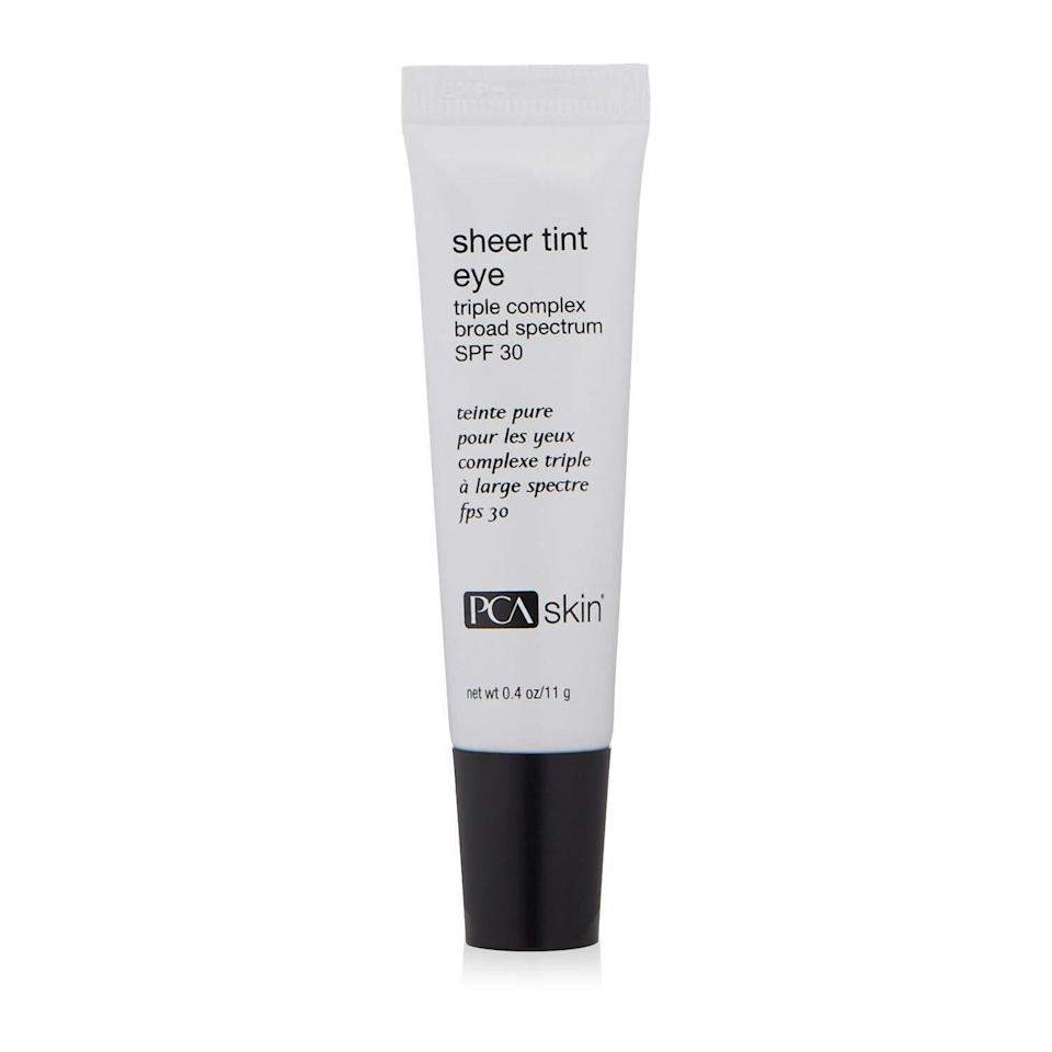 """Another one of Zeichner's picks is PCA Skin's Sheer Tint Eye. """"This mineral sunscreen contains a peptide that helps strengthen the skin and minimize the appearance of fine lines and wrinkles while providing UV protection,"""" he says."""