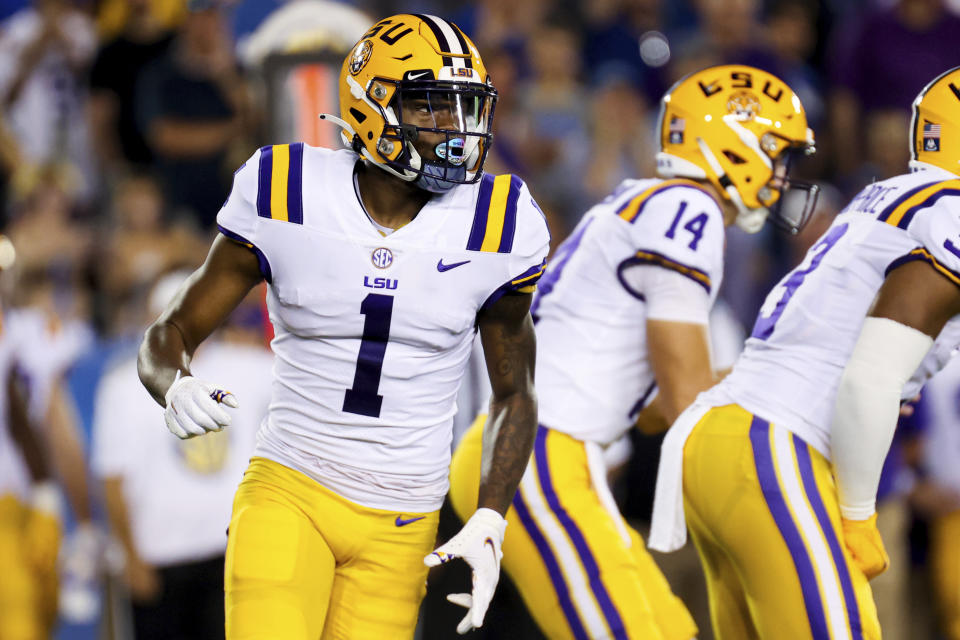 LSU wide receiver Kayshon Boutte (1) runs in motionduring an NCAA college football game against Kentucky in Lexington, Ky., Saturday, Oct. 9, 2021. (AP Photo/Michael Clubb)