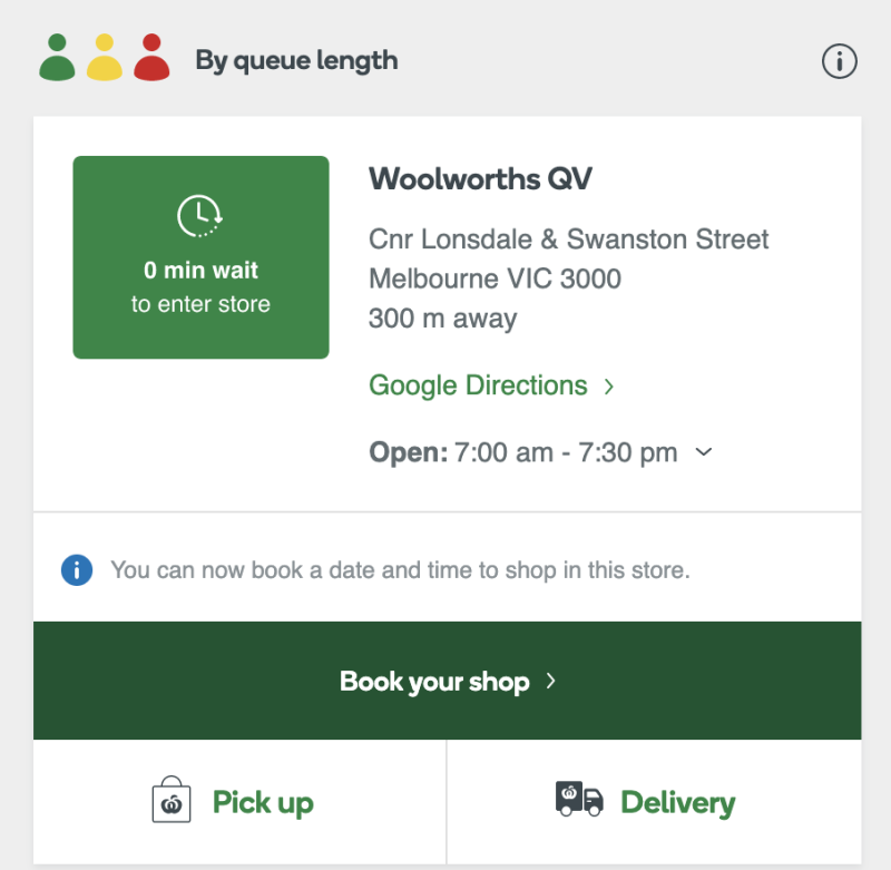 Melbourne shoppers can check the wait time and book their shop using Woolworths's Q-Tracker function.