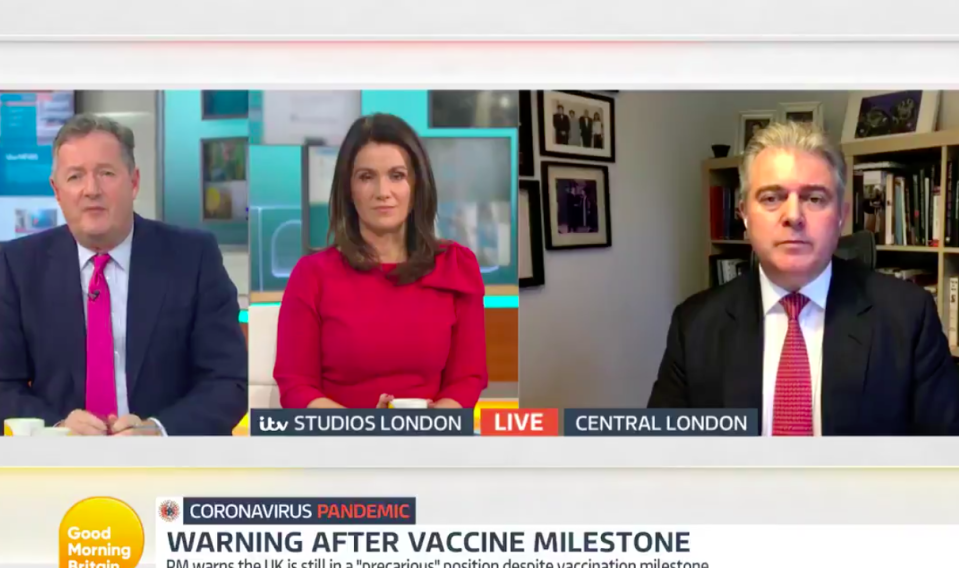 Cabinet minister Brandon Lewis, right, was questioned by Good Morning Britain hosts Piers Morgan and Susanna Reid. (ITV)