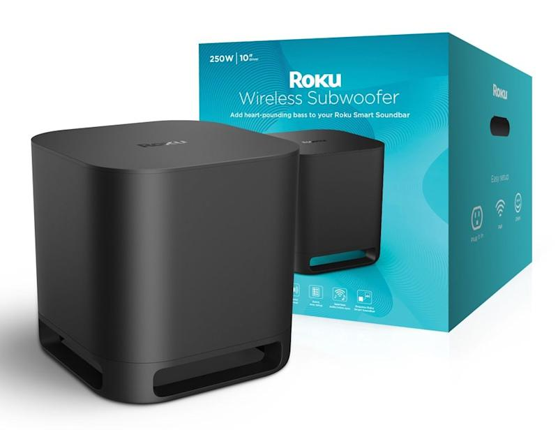 The Roku Wireless Subwoofer adds the extra bass boost to round out the Smart Soundbar's audio performance. (Image: Roku)