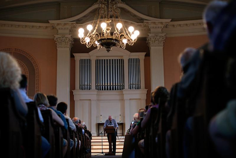 Sen. Bernie Sanders delivers remarks at a town meeting at the South Church in Portsmouth, New Hampshire on May 27, 2015.