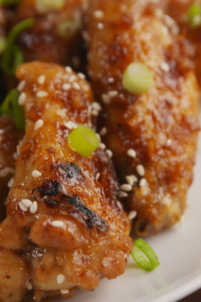 """<p>Give your chicken wings a sweet-spicy makeover.</p><p>Get the recipe from <a href=""""https://www.delish.com/cooking/recipe-ideas/recipes/a55241/mongolian-glazed-wings-recipe/"""" rel=""""nofollow noopener"""" target=""""_blank"""" data-ylk=""""slk:Delish"""" class=""""link rapid-noclick-resp"""">Delish</a>.</p>"""