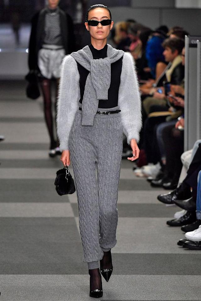 <p>Model in the Alexander Wang FW18 show wearing black sunglasses made in collaboration with Gentle Monster. (Photo: Getty) </p>