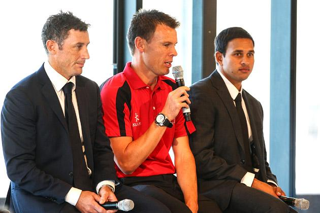 SYDNEY, AUSTRALIA - OCTOBER 15: David Hussey, Johan Botha and Usman Khawaja talk during the Cricket Australia season launch at Museum of Contemporary Art on October 15, 2012 in Sydney, Australia.  (Photo by Mark Nolan/Getty Images)