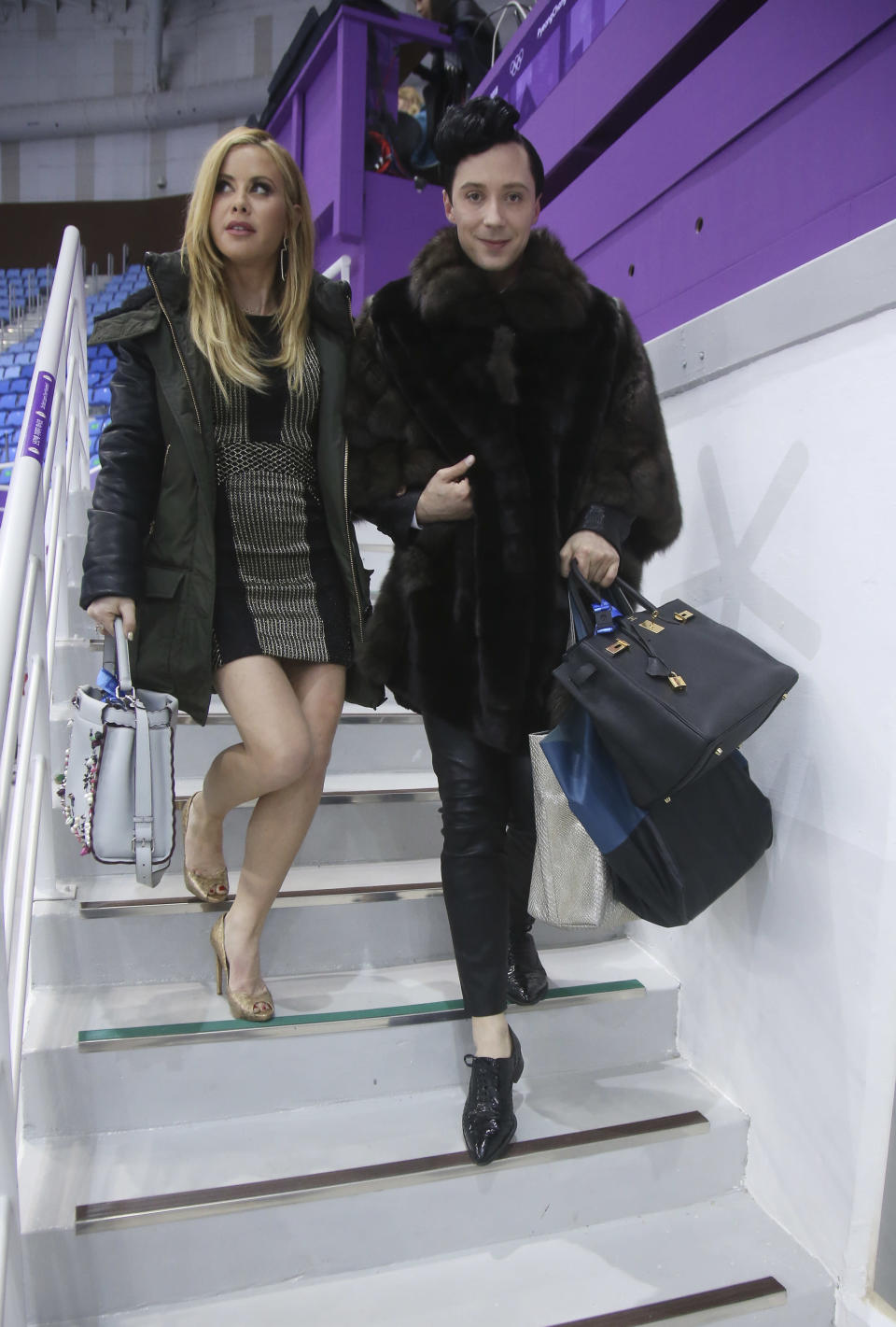 <p>Tara Lipinski and Johnny Weir pose after commentating for NBC Sports the Figure Skating Team Event during the 2018 Winter Olympic Games at Gangneung Ice Arena on February 11, 2018 in Gangneung, Pyeongchang, South Korea. (Photo by Jean Catuffe/Getty Images) </p>