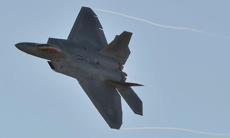 "Illustration of a US Air Force F-22 Raptor. The US military has deployed F-22 Raptor stealth fighters to South Korea as part of the ongoing ""Foal Eagle"" military exercise"