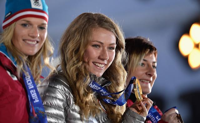 SOCHI, RUSSIA - FEBRUARY 22: (L-R) Silver medalist Marlies Schild of Austria, gold medalist Mikaela Shiffrin of the United States and bronze medalist Kathrin Zettel of Austria celebrate during the medal ceremony for the Women's Slalom on Day 15 of the Sochi 2014 Winter Olympics at Medals Plaza on February 22, 2014 in Sochi, Russia. (Photo by Pascal Le Segretain/Getty Images)
