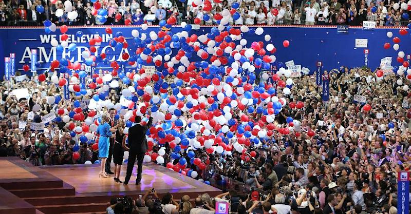 FILE - In this Aug. 30, 2012 file photo, Republican presidential candidate Mitt Romney and vice presidential candidate Paul Ryan are on stage with their wives Ann Romney and Janna Ryan at the end of the Republican National Convention in Tampa, Fla. Message to convention planners: Three days are enough. Both major parties packed their presidential nominating conventions into 72 hours, one day short of the traditional four-day celebration _ prompting few complaints from either delegates or the viewing public. (AP Photo/Jae C. Hong, File)