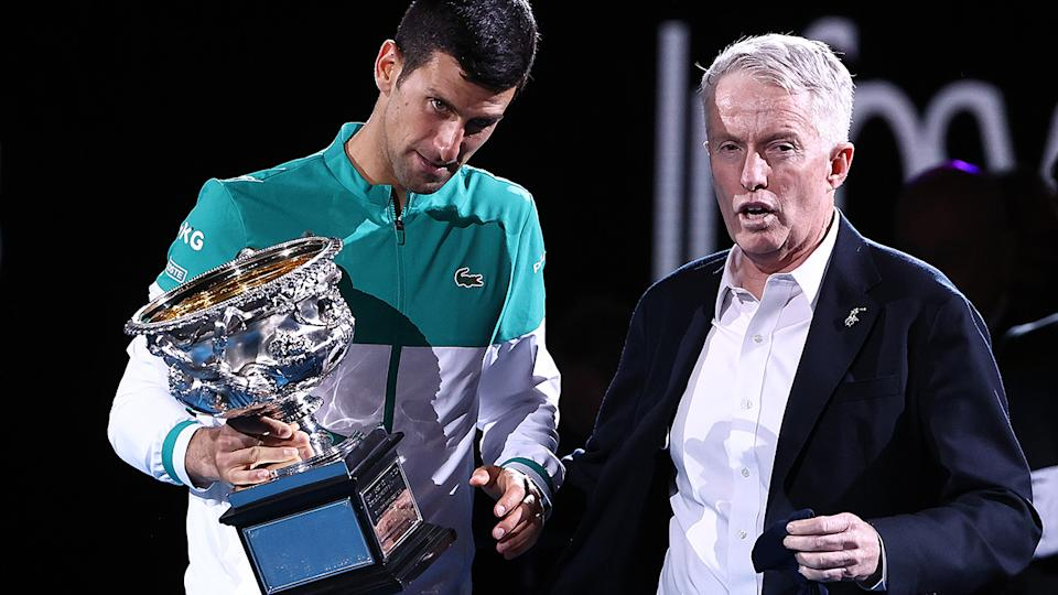 Novak Djokovic and Craig Tiley, pictured here after the Australian Open men's final.