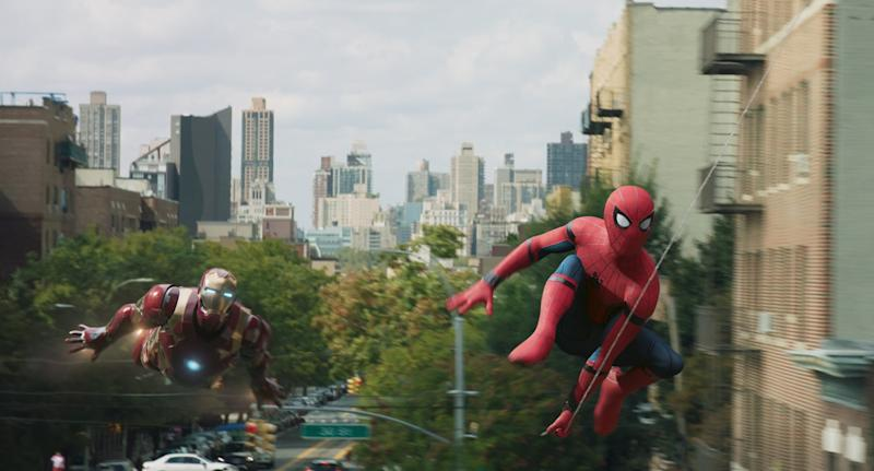 Maybe Iron Man's flying after Spidey to stop him from giving away spoilers...? (Credit: Sony/Marvel Studios)