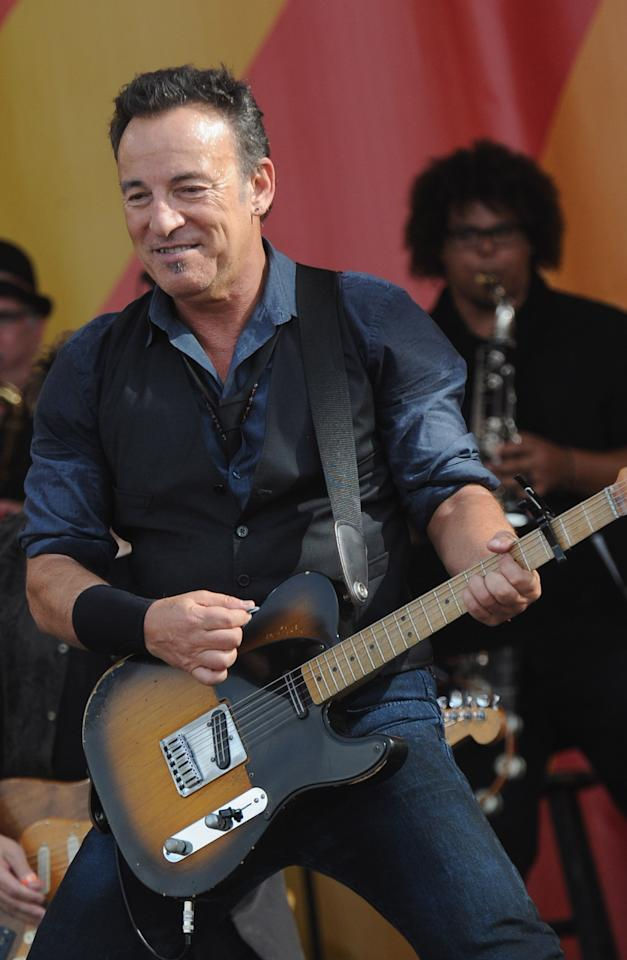 NEW ORLEANS, LA - APRIL 29:  Bruce Springsteen of Bruce Springsteen and the E Street Band performs during the 2012 New Orleans Jazz & Heritage Festival Day 3 at the Fair Grounds Race Course on April 29, 2012 in New Orleans, Louisiana.  (Photo by Rick Diamond/Getty Images)