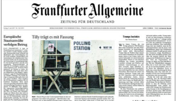 <p>Germany's centre-right Frankfurter Allgemeine Zeitung reported on the impact of the result on Brexit </p>