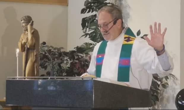 Father Rhéal Forest delivers a sermon at St. Emile Roman Catholic Church in Winnipeg on July 10, one of several in which he made unfounded accusations about residential school survivors. (St. Emile Parish/Facebook - image credit)