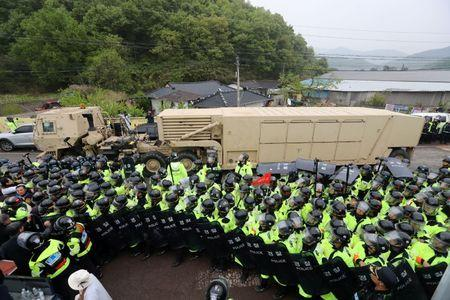 US THAAD Missile Defense Equipment Enters South Korea Site