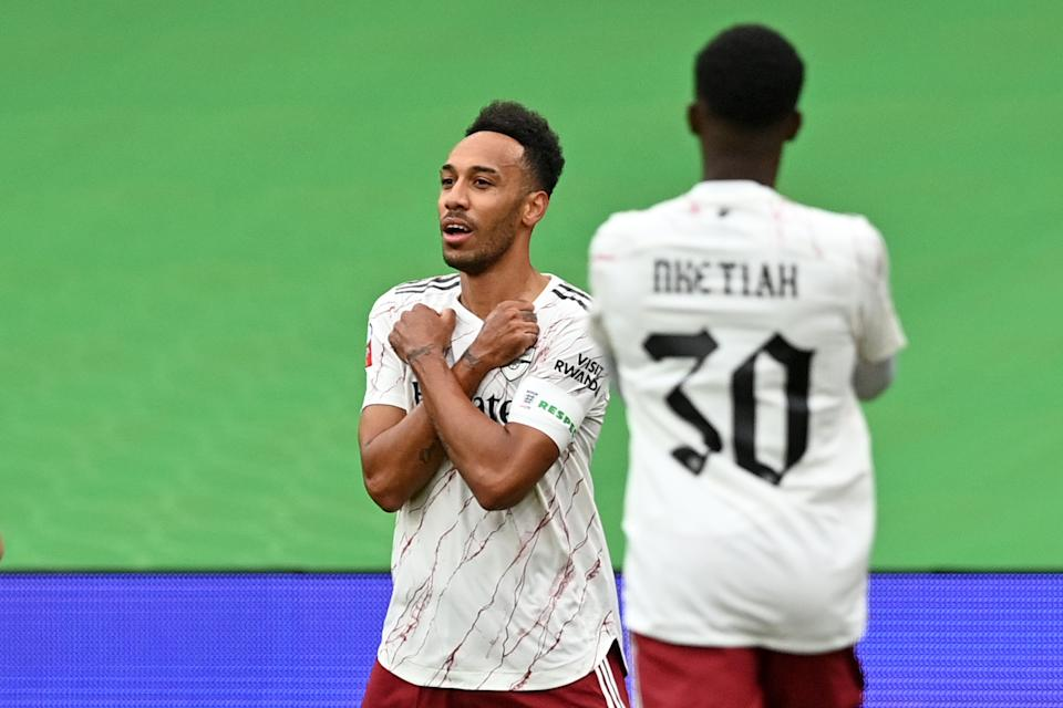 Pierre-Emerick Aubameyang paid tribute to late actor Chadwick Boseman after scoring for Arsenal against Liverpool on Saturday. (Justin Tallis/Getty Images)