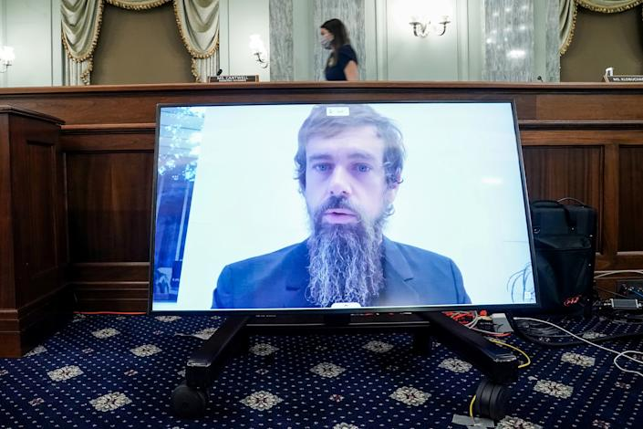 CEO of Twitter Jack Dorsey gives his opening statement remotely during the Senate Commerce, Science, and Transportation Committee hearing 'Does Section 230's Sweeping Immunity Enable Big Tech Bad Behavior?', on Capitol Hill in Washington, DC, U.S., October 28, 2020. Greg Nash/Pool via REUTERS     TPX IMAGES OF THE DAY