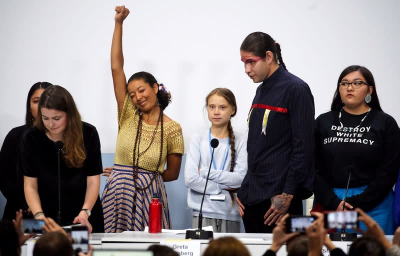 Climate change activist Greta Thunberg attends a news conference during COP25 climate summit in Madrid