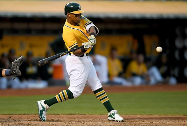 A's outfielder Khris Davis is the unlikeliest member of the 40-homer Class of 2016. (Getty Images)