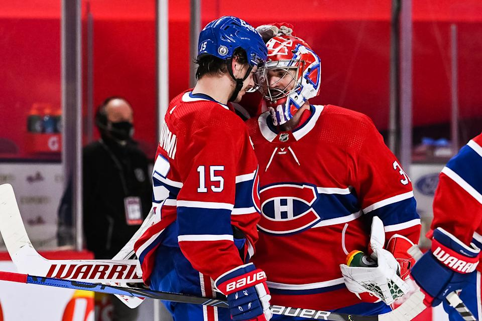 MONTREAL, QC - MAY 29: Montreal Canadiens center Jesperi Kotkaniemi (15) celebrates his game winning goal with Montreal Canadiens goalie Carey Price (31) during the NHL Stanley Cup Playoffs first round game 6 between the Toronto Maple Leafs versus the Montreal Canadiens on May 29, 2021, at Bell Centre in Montreal, QC (Photo by David Kirouac/Icon Sportswire via Getty Images)