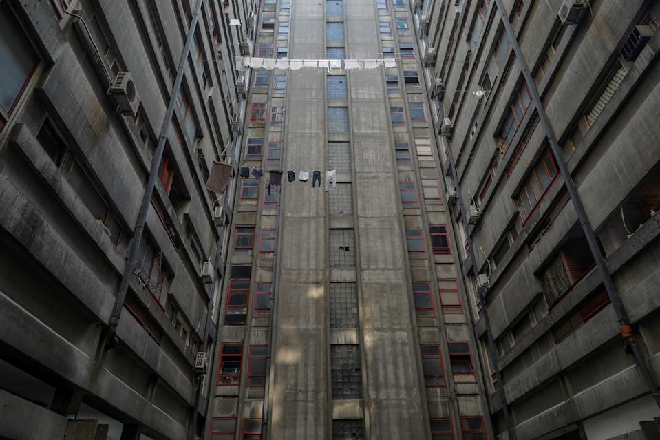 Laundry hangs out to dry inside the Block 23 apartment neighborhood in Belgrade, Serbia. (Photo: Marko Djurica/Reuters)