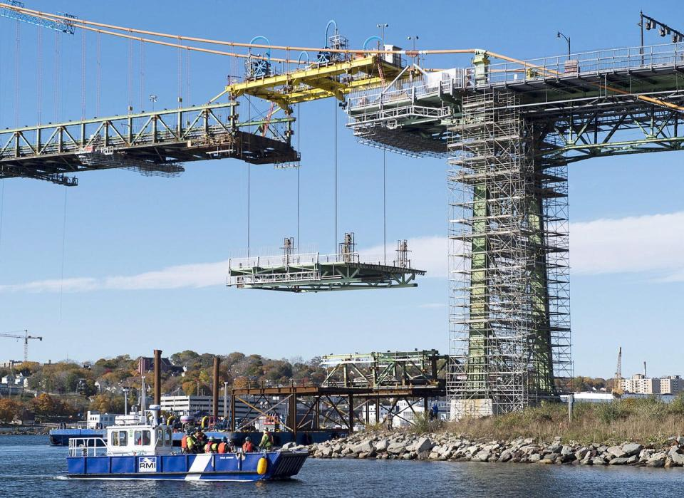 """<span class=""""caption"""">Public banks around the world are working towards the public good during COVID-19. The Canada Infrastructure Bank, however, seems focused on privatizing critical public services instead of ensuring vital infrastructure across the country is built or maintained, like this project to repair the bridge spanning the Halifax harbour in 2017.</span> <span class=""""attribution""""><span class=""""source"""">THE CANADIAN PRESS/Andrew Vaughan</span></span>"""