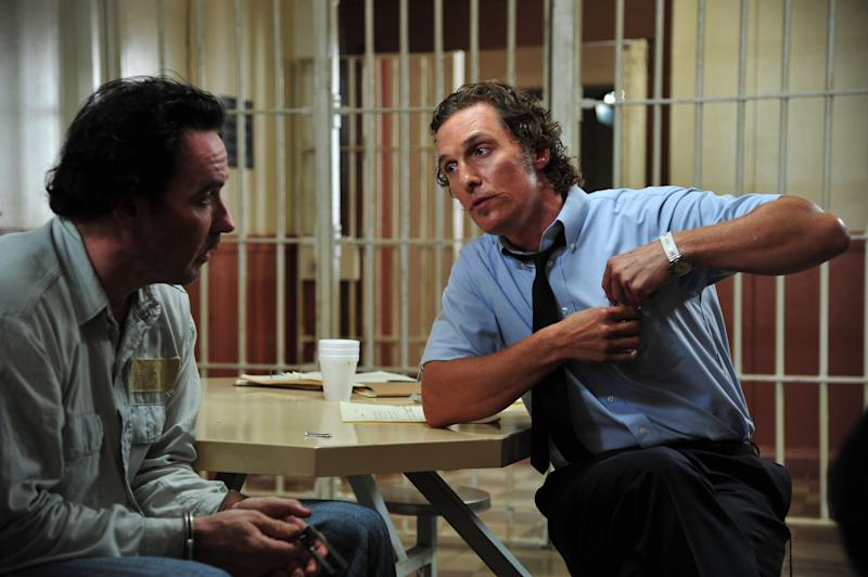 """This film image released by Millennium Films shows John Cusack, left, and Matthew McConaughey in a scene from """"The Paperboy.""""  (AP Photo/Millennium Films, Anne Marie Fox)"""