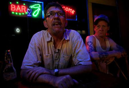American James John Goodman (L), 51, and Christopher Lamb, 48, answer questions during a Reuters interview outside a bar in Subic, north of Manila, Philippines November 10, 2017. REUTERS/Romeo Ranoco