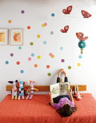 """<div class=""""caption-credit""""> Photo by: Spearmint Baby</div><div class=""""caption-title"""">Rainbow Sprinkles</div>Accent a room with a cluster of polka dots! Perfect for the polka-dot lover's bedroom, this would be a subtle way to implement this fun print. <br> <br>"""