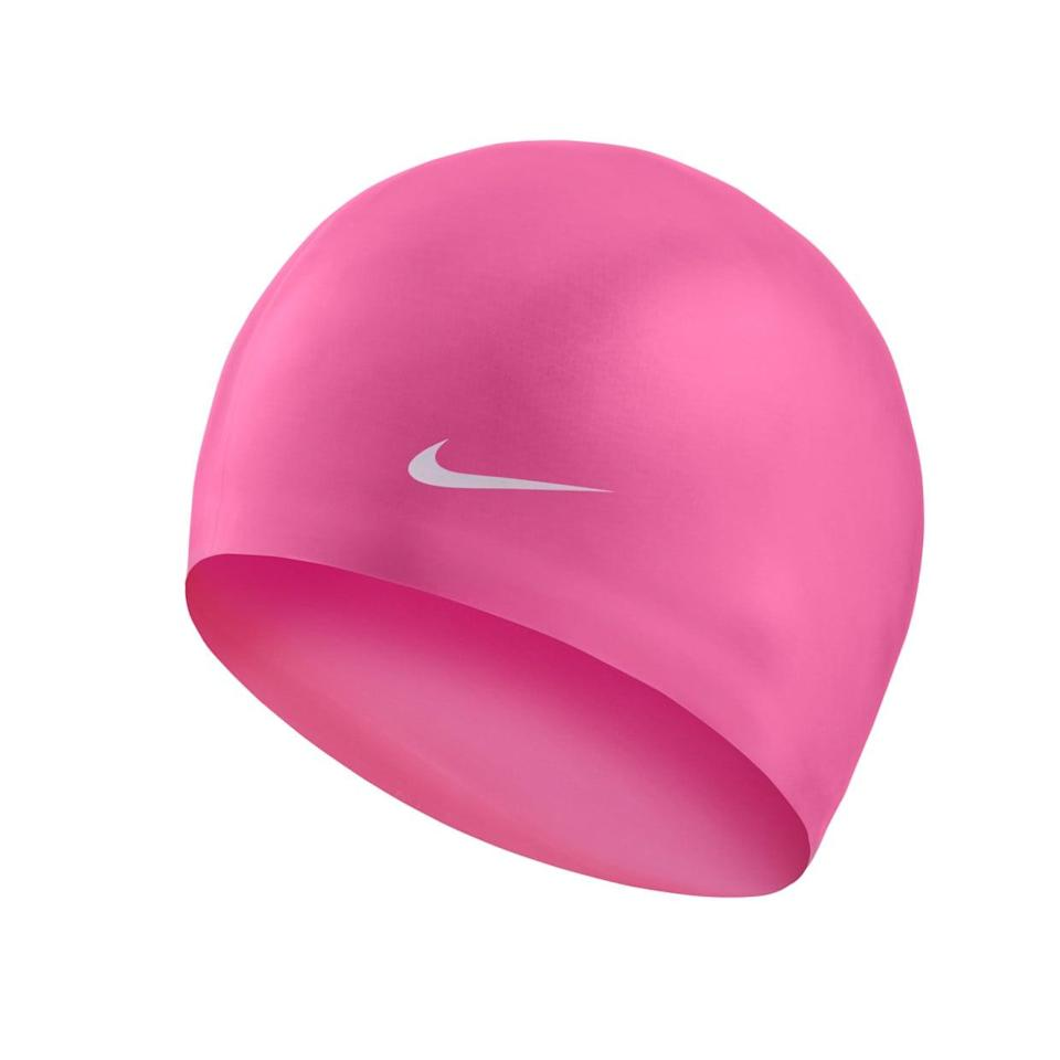<p>Pull your hair up into the <span>Nike Solid Silicone Training Cap</span> ($10), so it stays out of your eyes (and dry!) during all your water workouts.</p>