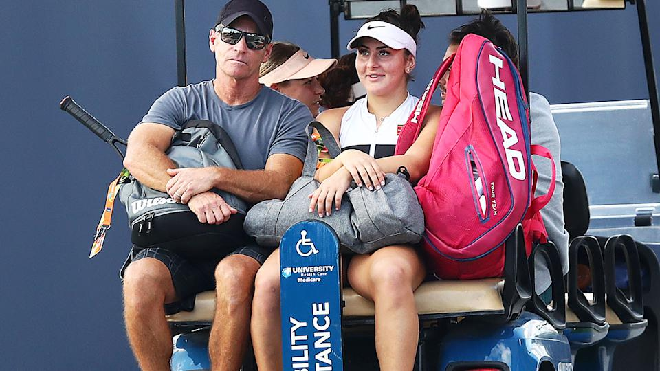 Sylvain Bruneau and Bianca Andreescu, pictured here at the Miami Open in 2019.