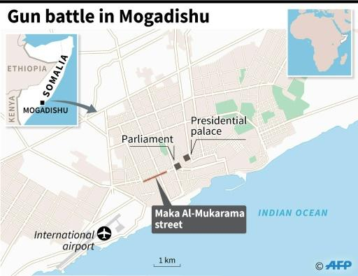 Map locating Maka Al-Mukarama street in Mogadishu where the attack took place