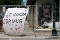 FILE PHOTO: Kenosha-strong banner is seen in the city