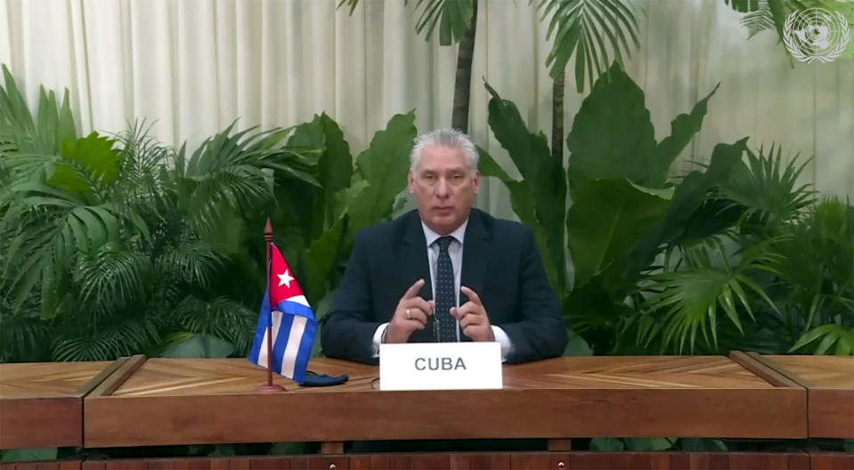 In this image made from UNTV video, Miguel Díaz-Canel Bermudez, President of Cuba, speaks in a pre-recorded message which was played during the U.N. General Assembly's special session to discuss the response to COVID-19 and the best path to recovery from the pandemic, Thursday, Dec. 3, 2020, at U.N. headquarters, in New York. (UNTV via AP)