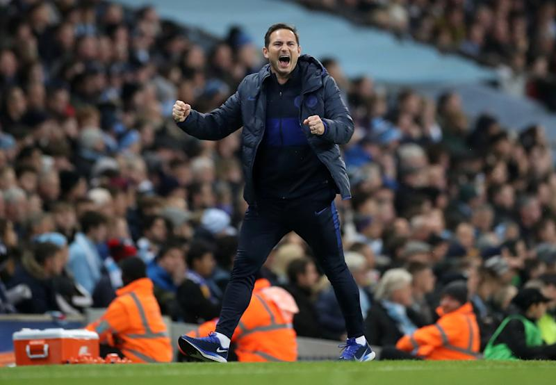 """Soccer Football - Premier League - Manchester City v Chelsea - Etihad Stadium, Manchester, Britain - November 23, 2019 Chelsea manager Frank Lampard celebrates their first goal scored by N'Golo Kante Action Images via Reuters/Carl Recine EDITORIAL USE ONLY. No use with unauthorized audio, video, data, fixture lists, club/league logos or """"live"""" services. Online in-match use limited to 75 images, no video emulation. No use in betting, games or single club/league/player publications. Please contact your account representative for further details."""