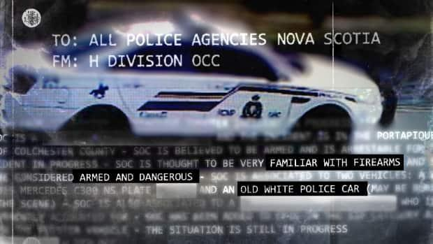 RCMP first warned other police forces in Nova Scotia that the suspect in the mass shooting should be considered 'armed and dangerous' at 1:07 a.m. AT on April 19, 2020, through a Be On the Lookout (BOLO) bulletin. They tweeted a photo of the gunman's replica car at 10:17 a.m. AT. (Photo Illustration/CBC News - image credit)