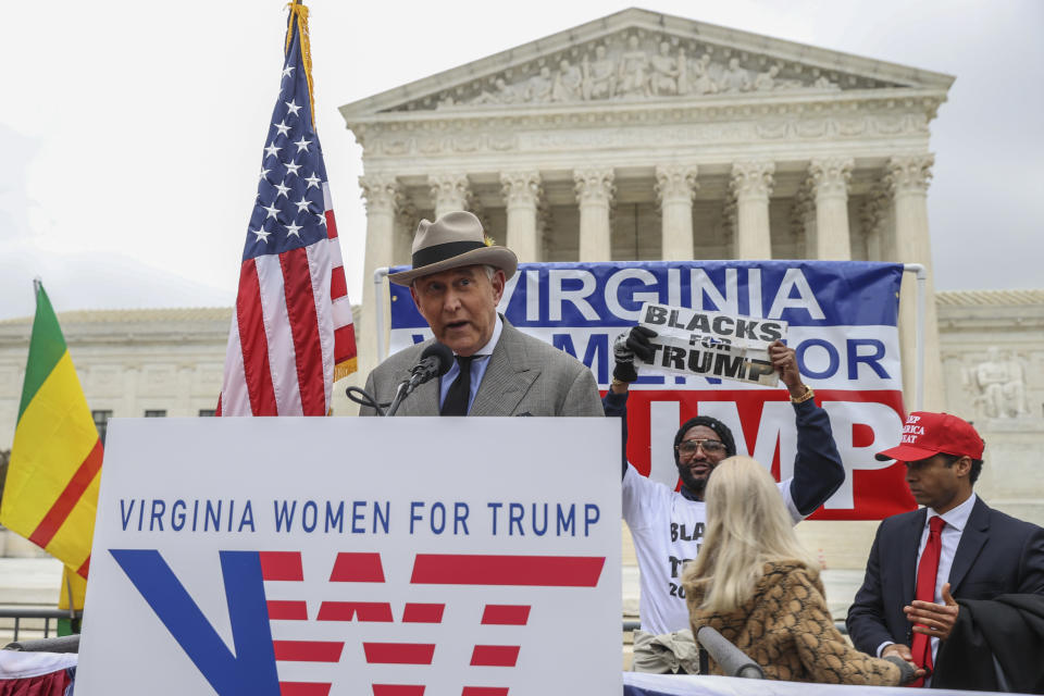 Roger Stone, former advisor to President Donald Trump, speaks in front of the Supreme Court on January 05, 2021 in Washington, DC. (Tasos Katopodis/Getty Images)
