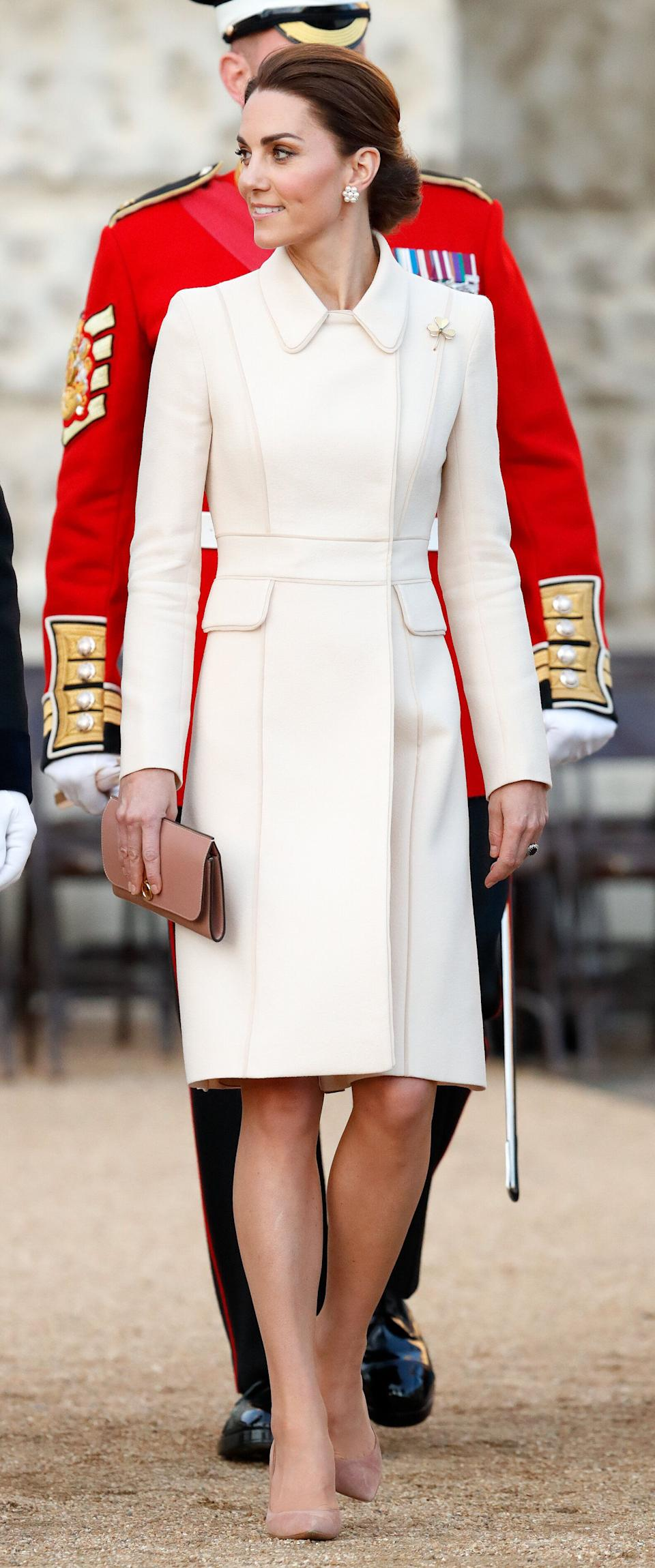 Kate attends the Household Division's 'Beating Retreat' at the Horse Guards Parade in London on June 6.