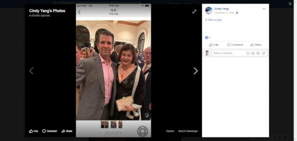 PHOTO: A photo posted on Facebook shows Cindy Yang with President Donald Trump's son, Donald Trump Jr. (Cindy Yang/Facebook)