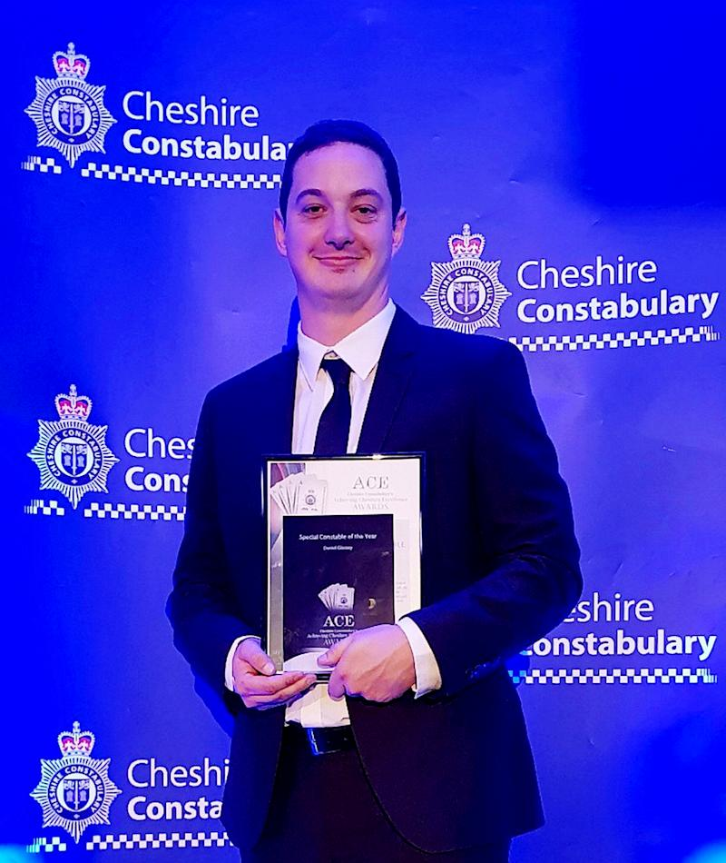"Daniel Glassey winning Cheshire Police, Special Constable of the Year, 2018. A cop who was once dubbed 'Constable of the Year' has been jailed for harassing and threatening to rape two ex girlfriends whose lives he made a ""living hell"". See SWNS story SWLEofficer. Special constable Daniel Glassey bombarded the women with sickening abuse as part of a two-year campaign of controlling behaviour, a court heard. He threatened to throw acid into the face of one partner and ""kick her teeth"" in. Glassey, 30, also pulled her hair and spat at her during a horrendous relationship that left her feeling ""trapped"" and ""living in fear"". Chester Crown Court heard how his campaign of control began when he ""refused to accept"" that a partner had left him in June 2018. He barraged her with texts and phone calls for months demanding to know where she was and who she was with. The court heard how he even demanded that she sent pictures to prove what she was doing. However, Glassey - who was named as Cheshire Police's Special Constable of the Year in 2018 - had actually started a new relationship with a fellow copper in March of that year. Glassey, of Warrington, Cheshire, admitted controlling and coercive behaviour and harassment during an earlier court hearing and was jailed for 27 months."