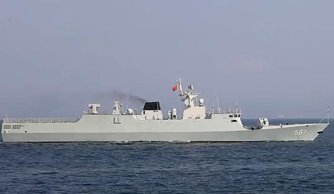 The naval vessel Qinzhou, during the Hong Kong PLA garrison's exercise in the South China Sea. Photo: Weibo
