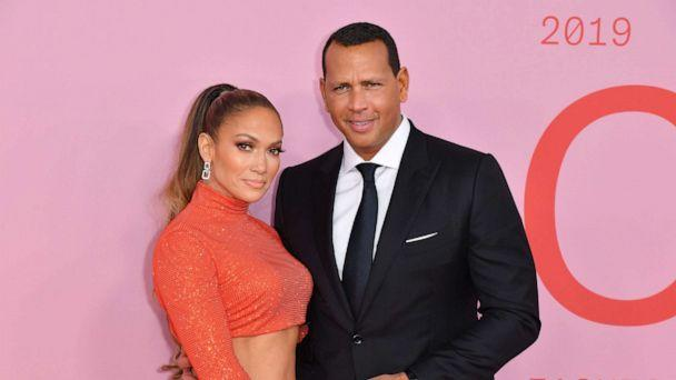 PHOTO: CFDA Fashion Icon Award recipient Jennifer Lopez and fiance Alex Rodriguez arrive for the 2019 CFDA fashion awards at the Brooklyn Museum in New York, June 3, 2019. (Angela Weiss/AFP/Getty Images)