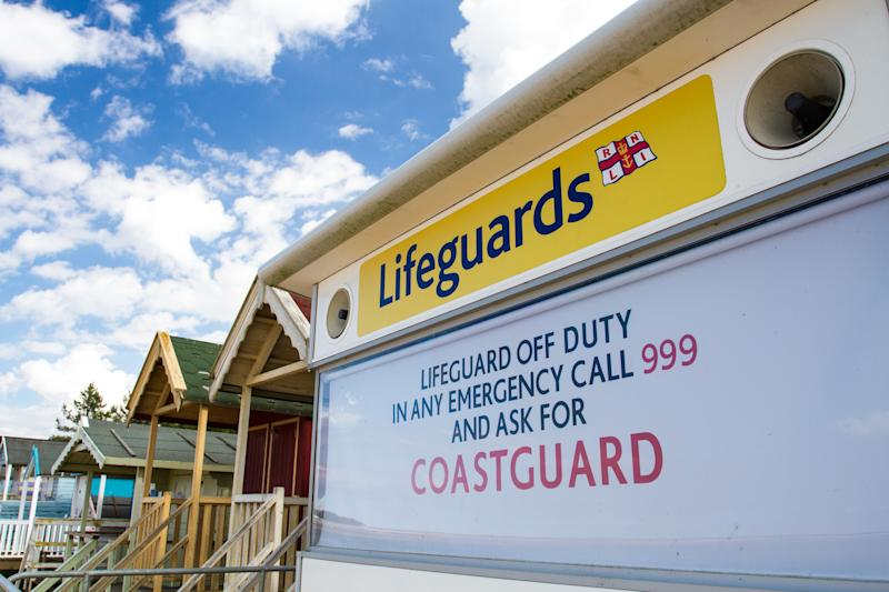 Wells Next The Sea, Norfolk, UK - July 3, 2017. An HM Coastguard station on a sandy beach that is closed and unattended leaving swimmers and holidaymakers unprotected and unsafe.
