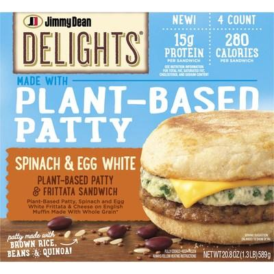 Launching this Spring, the NEW Jimmy Dean Delights® Plant-Based Patty & Frittata Sandwiches feature a vegetable and grain patty made of soy protein, black beans, brown rice, quinoa, and egg white topped with a spinach and egg white frittata and American cheese, all inside a whole wheat English muffin, providing 15g of protein and 280 calories per serving.