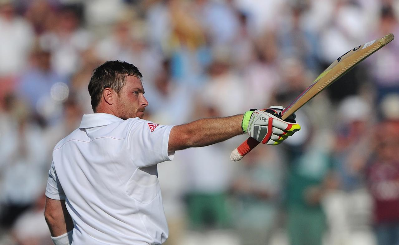 England's Ian Bell celebrates scoring 100 not out on day One of the Second Investec Ashes Test at Lord's Cricket Ground, London.
