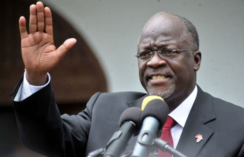 FILE PHOTO: Tanzania's President elect Magufuli addresses members of the ruling CCM at the party's sub-head office on Lumumba road in Dar es Salaam