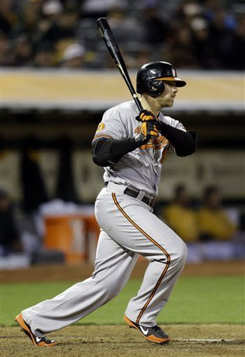Baltimore Orioles' Chris Davis swings for an RBI single off Oakland Athletics' Jesse Chavez in the eighth inning of a baseball game Thursday, April 25, 2013, in Oakland, Calif. (AP Photo/Ben Margot)