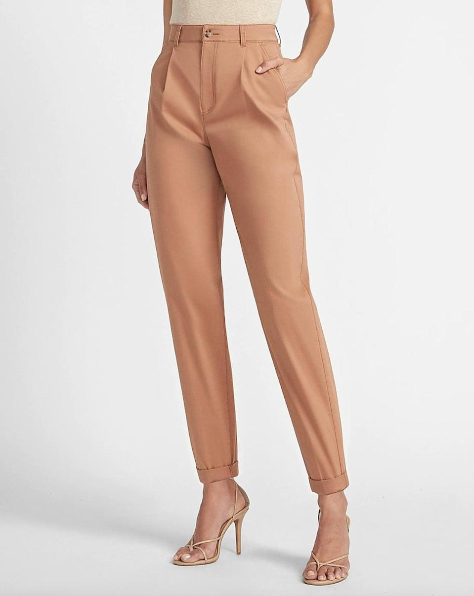 <p>We love the elevated look of these <span>Express Super High Waisted Tapered Twill Ankle Pants</span> ($40, originally $70).</p>